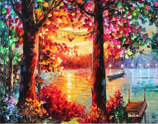 "1T: Daniel Wall ""Sunset on the River"" Original Oil On C"