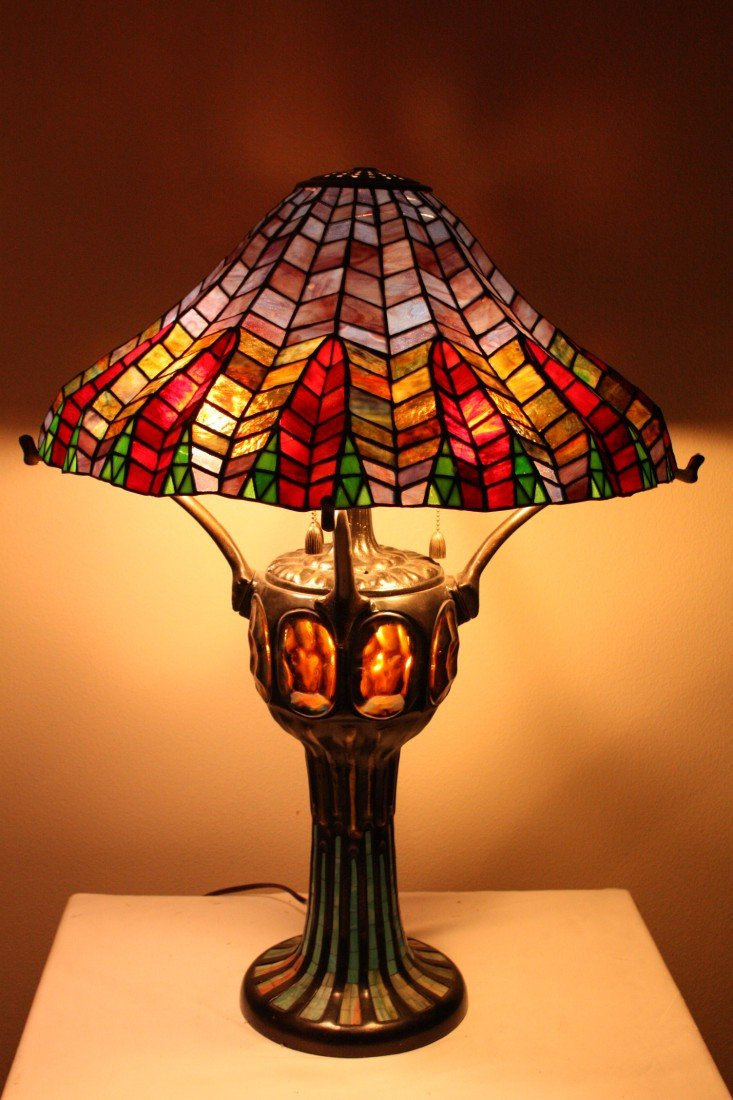 28E: Herringbone pattern stained glass lamp.