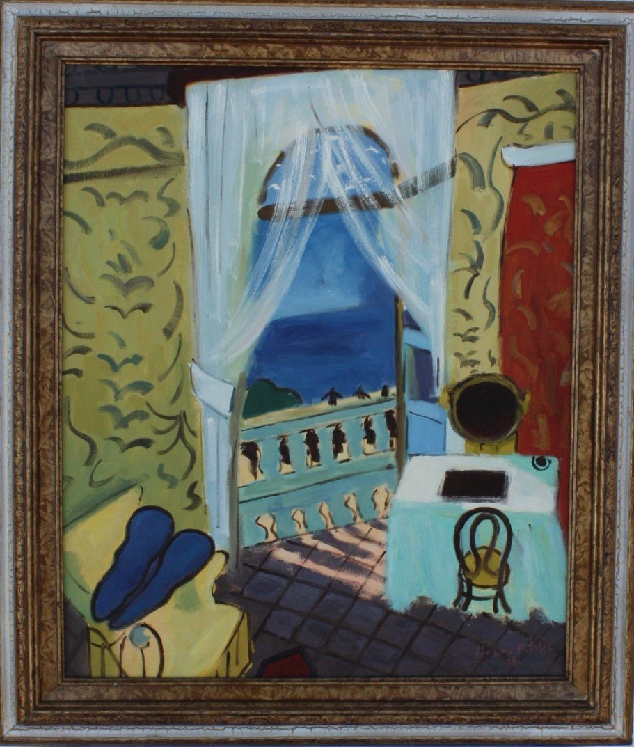 "2N: Matisse ""The View"" Embellished Giclee on Canvas"