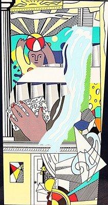 """Lichtenstein """"Mural with Blue Brushstrokes"""" Original"""
