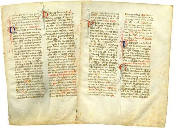 0016: 2 ILLUMINATED FRENCH BREVIARY MANUSCRIPT LEAVES
