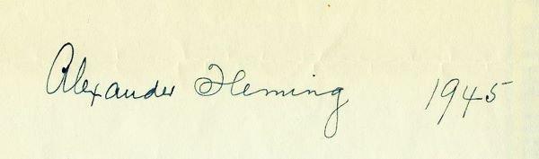 0463: SIR ALEXANDER FLEMING SIGNED 1945 SIGNATURE