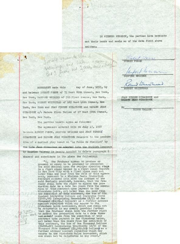 0795: ROBERT FOSSE SIGNED THEATRE DOCUMENT