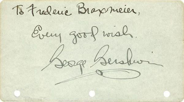 0796: GEORGE GERSHWIN SIGNED SIGNATURE W/SENTIMENT