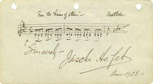 0799: VINTAGE JASCHA HEIFETZ HANDWRITTEN MUSICAL QUOTE