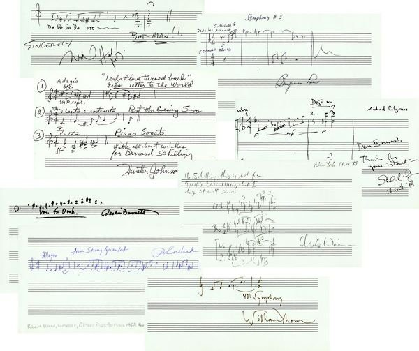 0805: COMPOSERS HANDWRITTEN SIGNED MUSICAL QUOTATIONS