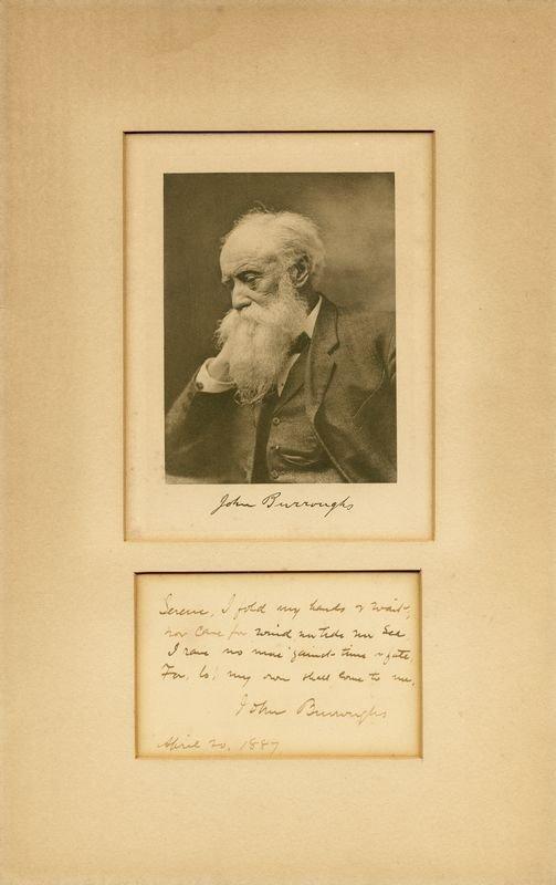 """0849: JOHN BURROUGHS HANDWRITTEN SIGNED VERSE """"WAITING"""""""