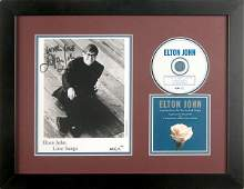 1182 ELTON JOHN SIGNED PHOTO WCANDLE IN THE WIND DISC