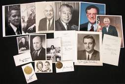 0404: 16 POLITICAL CELEBRITIES SIGNED PHOTOS/CARDS