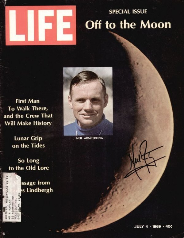 0438: NEIL ARMSTRONG SIGNED 1969 LIFE MAGAZINE COVER
