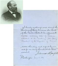 0494: JAMES A. GARFIELD SIGNED DOCUMENT AS PRESIDENT