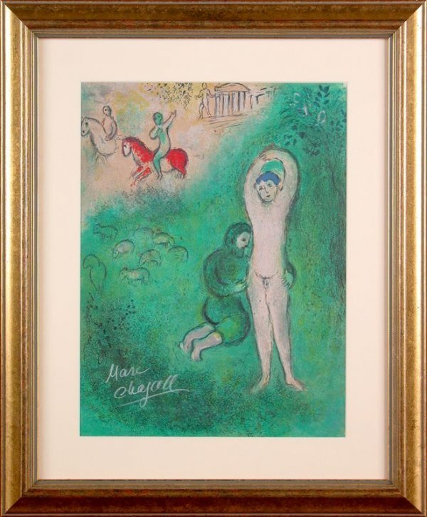 """0601: CHAGALL SIGNED OFFSET LITHO """"DAPHNIX AND GNATHON"""""""