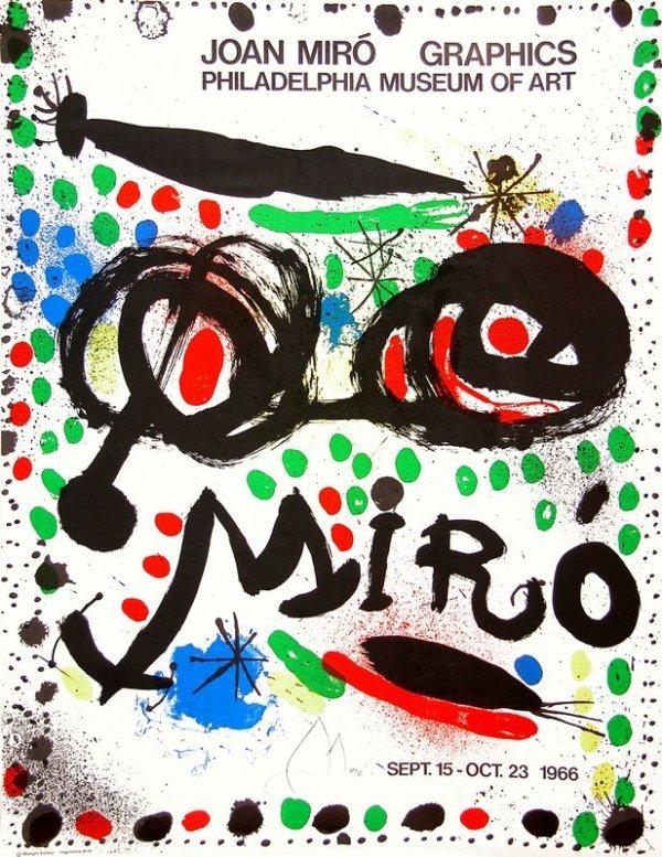 0609: JOAN MIRO SIGNED 1966 MUSEUM ART POSTER