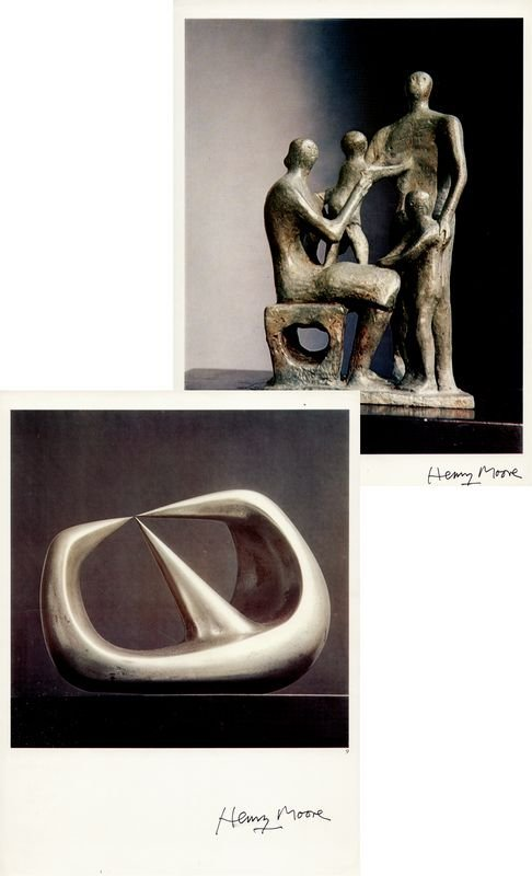0610: 2 HENRY MOORE SIGNED ART BOOK COLOR PRINTS