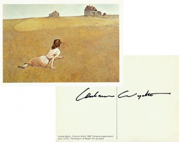 0613: ANDREW WYETH SIGNED MUSEUM POSTCARD PRINT