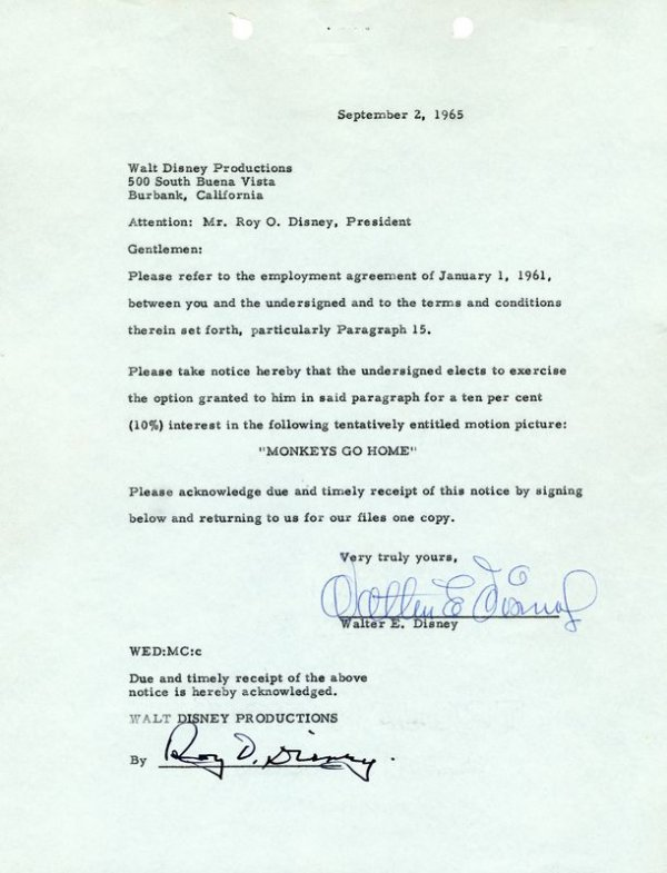 0616: WALT & ROY DISNEY SIGNED DOCUMENT