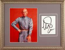 0781 YUL BRYNNER SIGNED CARD WCOLOR PHOTO