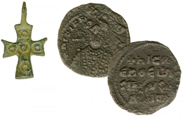 5: MEDIEVAL BRONZE CROSS & COIN