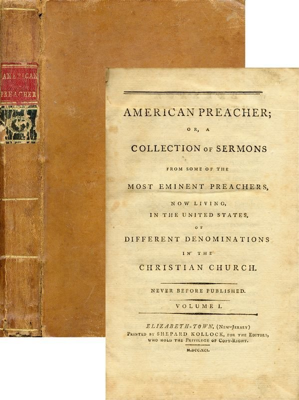 23: AMERICAN PREACHER FIRST PRINTING EDITION 1791