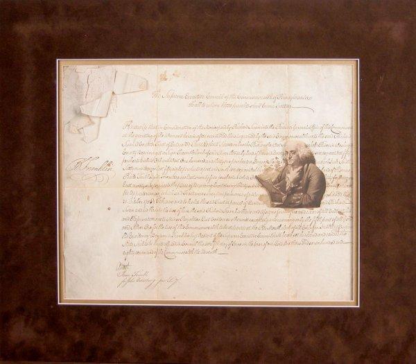 36: BENJAMIN FRANKLIN SIGNED DOCUMENT DISPLAY