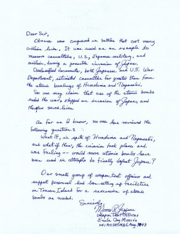 160: MORRIS JEPPSON HANDWRITTEN SIGNED LETTER