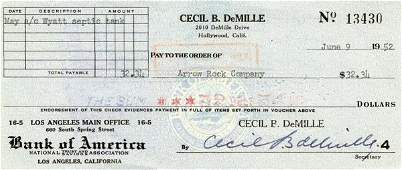 782 CECIL B DEMILLE SIGNED CHECK