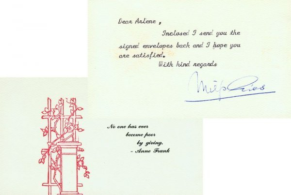 0003: MIEP GIES SIGNED NOTE - ANNE FRANK PROTECTOR