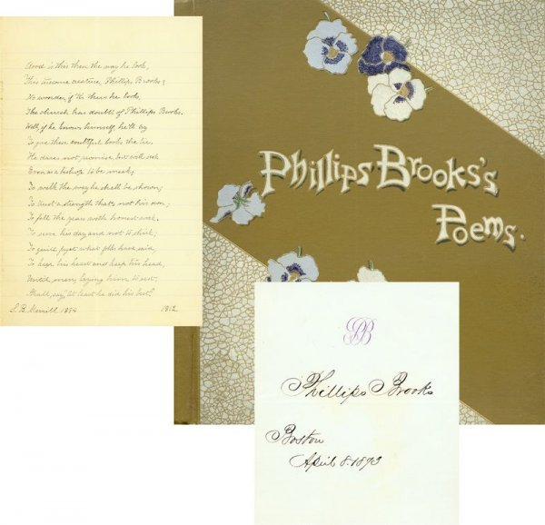 0014: PHILLIPS BROOKS SIGNED SIGNATURE W/HIS POEMS BOOK