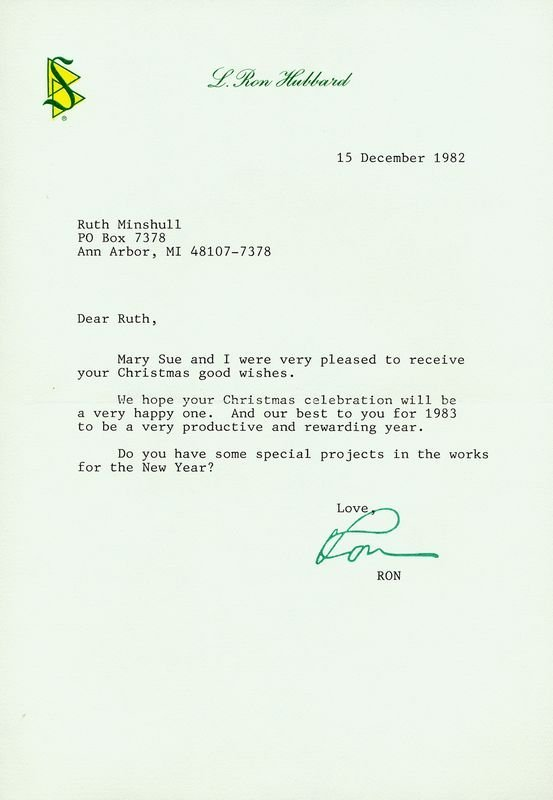 0017: L. RON HUBBARD SIGNED LETTER TO AUTHOR MINSHULL