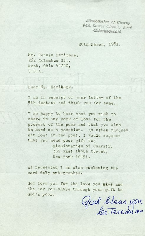 Mother Teresa Signed Letter