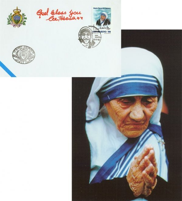 0020: MOTHER TERESA SIGNED FDC W/PHOTO