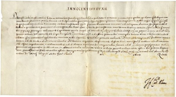 0022: POPE CLEMENT XI SIGNED DOCUMENT