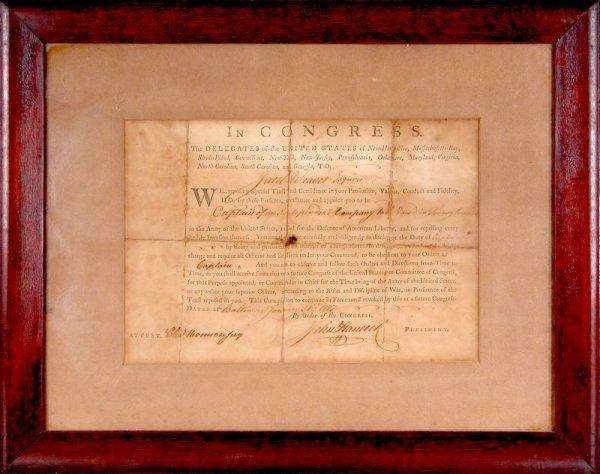 0029: JOHN HANCOCK /CHARLES THOMSON SIGNED WAR DOCUMENT