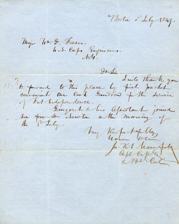 JOSEPH J. F. MANSFIELD HANDWRITTEN SIGNED LETTER