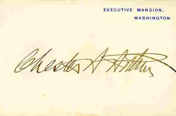 0525: CHESTER A. ARTHUR SIGNED EXECUTIVE MANSION CARD