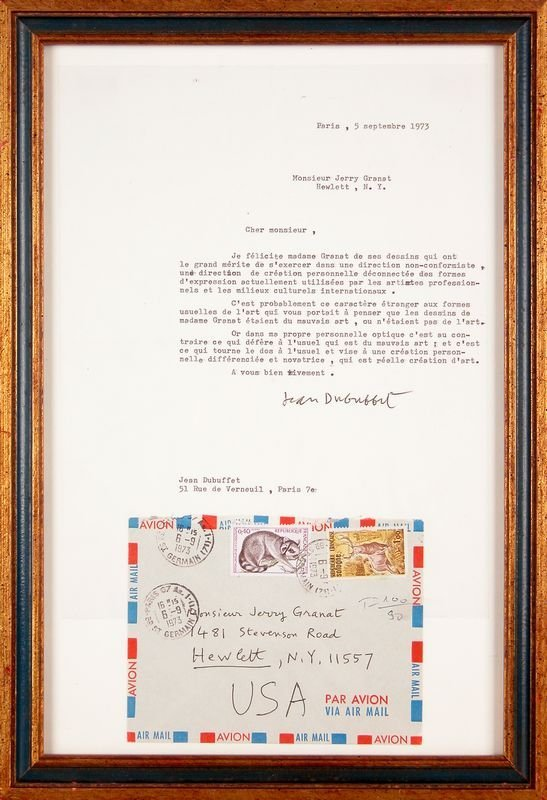 0704: JEAN DUBUFFET SIGNED LETTER WITH ART CONTENT