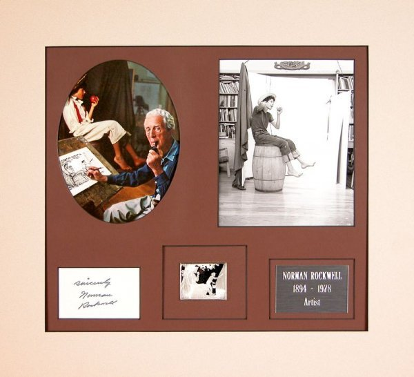 0710: NORMAN ROCKWELL SIGNED CARD & COLLECTION DISPLAY