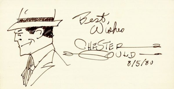 0718: CHESTER GOULD SIGNED ORIGINAL DICK TRACY DRAWING