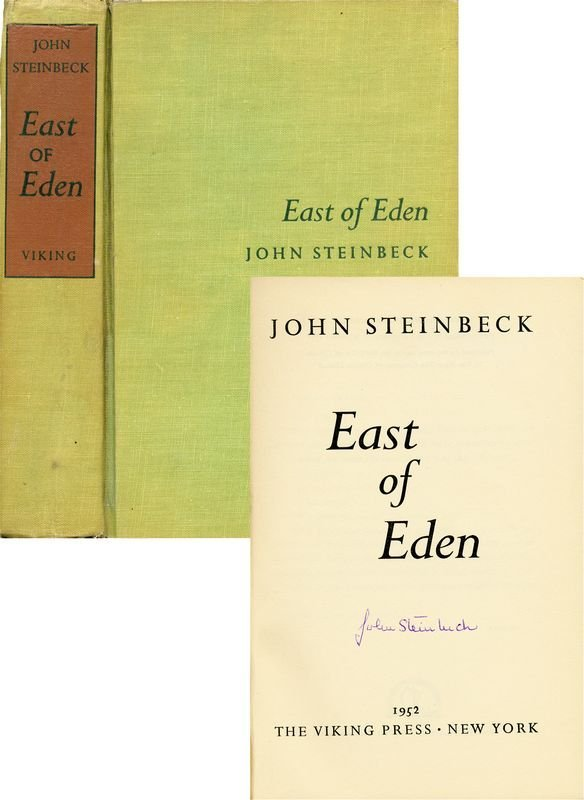 0820: JOHN STEINBECK SIGNED FIRST PRINTING EAST OF EDEN