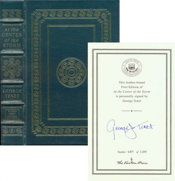 GEORGE TENET SIGNED LEATHER FIRST EDITION BOOK