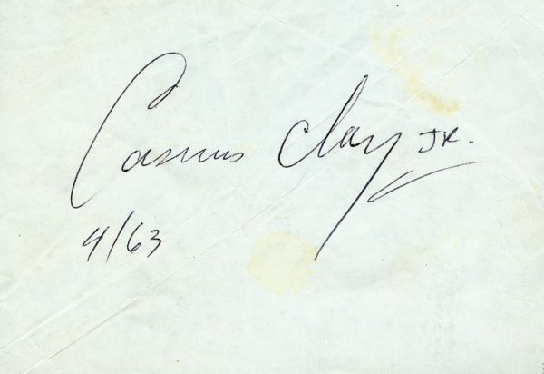 1151: CASSIUS CLAY IN-PERSON SIGNED PAPER SLIP 1963