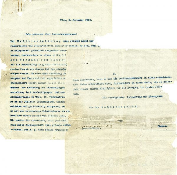 0004: THEODORE HERZL SIGNED LETTER