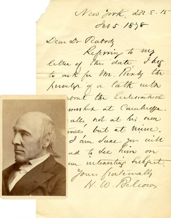0010: HENRY W. BELLOWS HANDWRITTEN SIGNED LETTER W/CDV