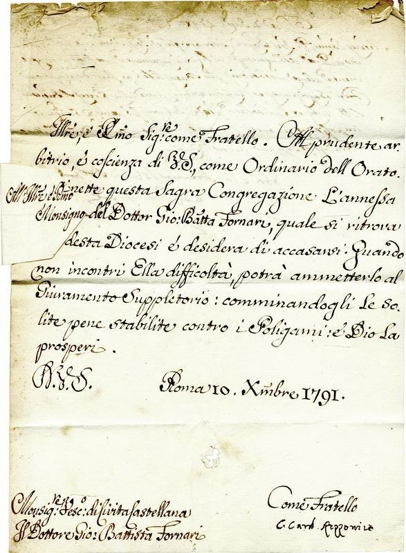0018: CARLOS CARDINAL ROZZONICO SIGNED LETTER