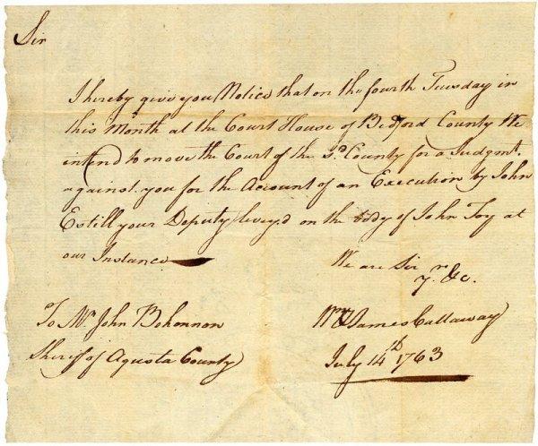 0023: JAMES CALLAWAY HANDWRITTEN SIGNED DOCUMENT