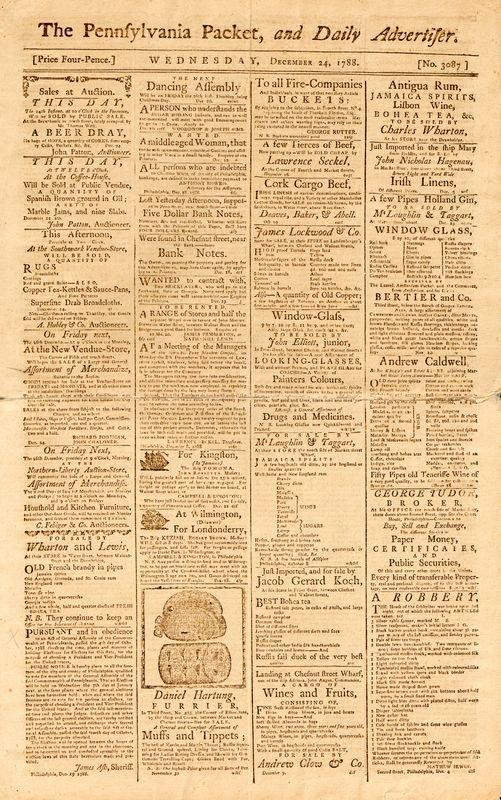 "0024: 1788 ""THE PENNSYLVANIA PACKET"" NEWSPAPER"