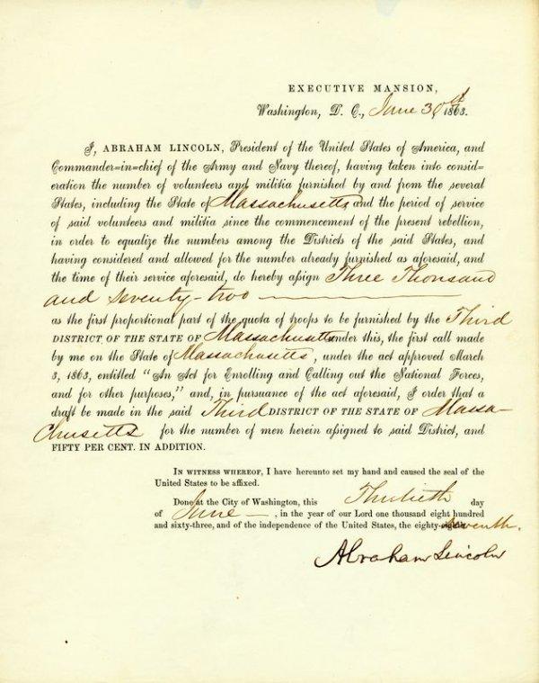 0512: ABRAHAM LINCOLN SIGNED MASSACHUSETTS DRAFT DOC.