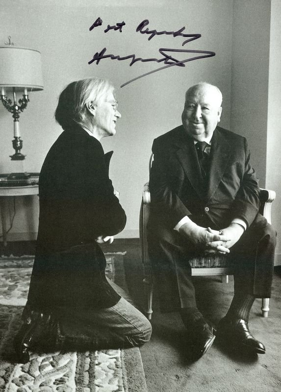 0671: ANDY WARHOL SIGNED PHOTO W/HITCHCOCK