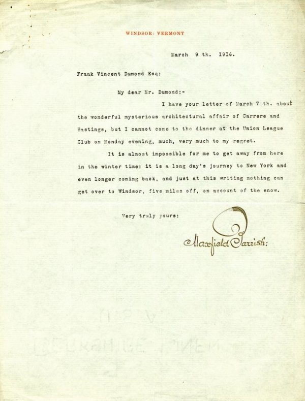 0679: MAXFIELD PARRISH SIGNED LETTER