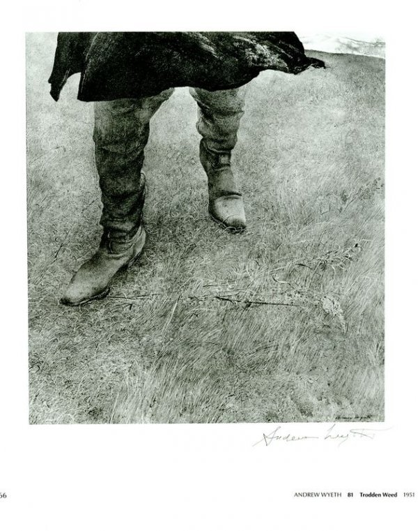 0687: ANDREW WYETH SIGNED BOOK PRINT - TRODDEN WOOD